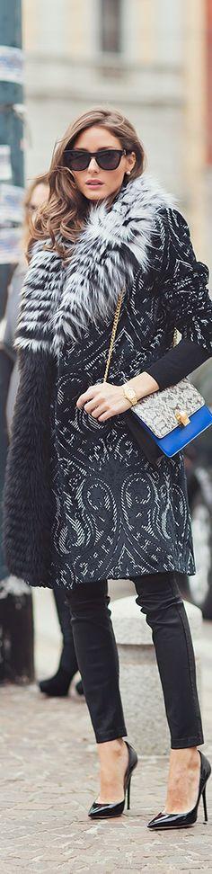 Street fashion fur and textured coat on Olivia Palermo