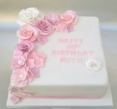 80th Birthday Cake With Pink Gumpaste Flowers