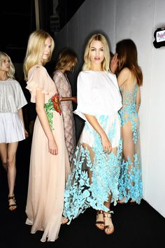 Gorgeous hemlines and embroidery backstage at Blumarine SS15