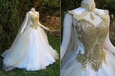 Regal Ball gown wedding dress with a gold embellished bodice. Regal Ball gown wedding dress with a gold embellished bodice. The post Regal Ball gown wedding dress with a gold embellished bodice. & Kleider appeared first on Gold wedding gowns . Royal Ball Gowns, Angel Gowns, Angel Dress, Fantasy Gowns, Fantasy Art, Medieval Dress, Prom Dresses, Wedding Dresses, Gown Wedding