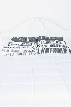 Urban -- Today I Will Pillowcase - Set Of 2  Good to remember, especially for college!