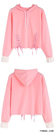 Shop Pink Dropped Shoulder Seam Lace Up Drawstring Hooded Sweatshirt at ROMWE, discover more fashion styles online. Cute Fashion, Diy Fashion, Teen Fashion, Korean Fashion, Fashion Outfits, Womens Fashion, Diy Lace Up, Outfits For Teens, Cute Outfits