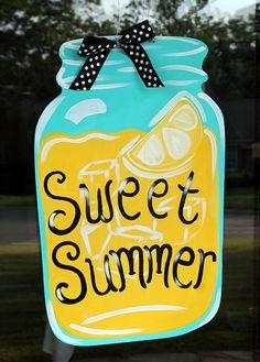 Mason Jar Door Hanger Lemonade Door Decor by PatrioticPeacockShop, $45.00