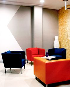 Office Fit Out - Office Design - Arm Chair - Geometric Wall Paint Pattern - OSB - Breakout Space - Orange - Navy - Grey - Ikea Ekero - Spark Market Research, Dublin by Think Contemporary