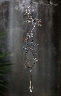 TWO DRAGONFLIES SUNCATCHER .... Dragonfly Suncatcher Gemstone