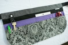 Utility Apron Black White Purple with 8 pockets by AnnaTereDesigns