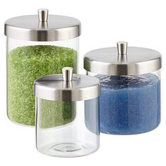 Stainless steel lids and straight-sided glass bases create clean, visible, easy-to-access storage. Our Apothecary Jars evoke a retro-contemporary style in the bath for cotton balls, swabs, bath salts and soaps. Glass Apothecary Jars, Glass Jars With Lids, Glass Containers, Bathroom Counter Organization, Bathroom Storage, Vanity Organization, College Organization, Organizing Ideas, Jar Storage