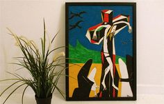 Modern painting original oil painting,crucifixion painting,cubist art,outsider art,religious art,modern catholic art,colourful wall art,gift