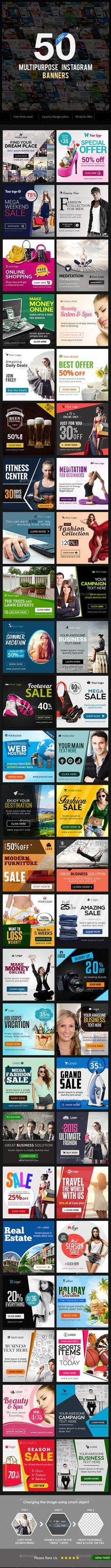 Multipurpose Instagram Banner Templates - 50 Designs - Miscellaneous Social Media