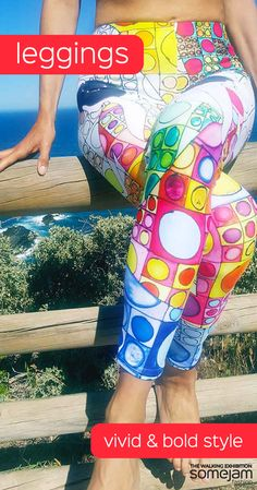 Unique and vivid leggings designed by artists. Discover our striking leggings collection. Women's summer clothes with eye-catching garish design - WRAP YOURSELF INTO ARTWORK - Stylish, durable, and a hot fashion staple. These polyester/spandex leggings are made of a comfortable microfiber yarn, and they'll never lose their stretch.  - #summerclothes #leggings #bold #elastic #vivid #colourful #striking #unique #happy #eye-catching #garish #artwork #fashion #somejam #womens #youthful #unique