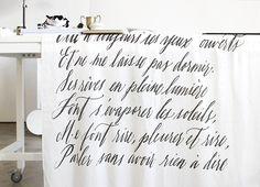 Calligraphy on fabric by @maybelleimasa on @galinadixon blog.