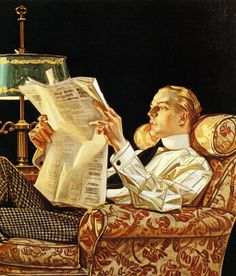 The Arrow shirt man was THE ideal man of the '20s. Arrow Shirts & Collars Ad (Detail), by J.C. Leyendecker