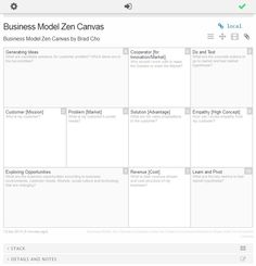 Business model zen canvas is loaded as a master template on BM Fiddle, Canvanizer and StormBoard.