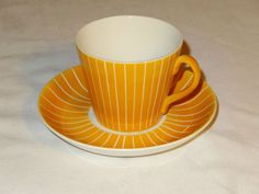 Vintage Upsala Ekeby Gefle Sweden Tea Cup Saucer Orange Stripes Zenit Pattern | eBay