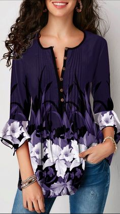 Flare Cuff Floral Print Crinkle Chest Blouse Women Clothes For Cheap, Collections, Styles Perfectly Fit You, Never Miss It! Trendy Tops For Women, Stylish Tops, Blouses For Women, Modelos Fashion, Purple Outfits, Blouse Styles, Blouse Designs, Printed Blouse, Printed Shirts