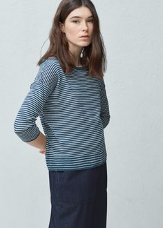 Gestreifter leinenpullover - Cardigans und pullover für Damen | MANGO Deutschland