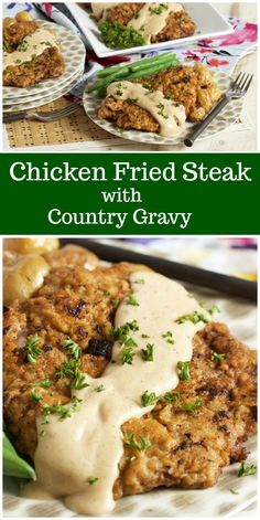 Chicken fried steak with country sauce - healthy living - chicken fried steak . - Chicken Fried Steak with Country Sauce – Healthy Living – Chicken Fried Steak with Country Sauc - Grilled Steak Recipes, Fried Chicken Recipes, Meat Recipes, Healthy Recipes, Recipes Dinner, Dinner Ideas, Cubed Steak Recipes, Delicious Recipes, Amazing Recipes