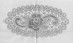 This could be an oval penny rug edged in lamb's tongues. Crochet Motif, Irish Crochet, Crochet Stitches, Bobbin Lace Patterns, Macrame Patterns, Romanian Lace, Types Of Lace, Point Lace, Penny Rugs