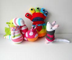sock creatures.  Link to treachercreatures photostream.  Adorable!
