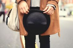 JennifHsieh #Outfit | Black Bowler Cat Ear Hat Cat Ears Headband, Bowler Hat, Leather Backpack, Cool Hairstyles, Personal Style, Style Inspiration, Photoshoot, Lady, Boots