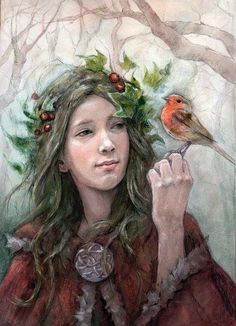 Yule blessings in honor of our wiccan friends. Today mark the start of Yule. Pagan Yule, Samhain, Illustration Noel, Illustrations, Holly King, Winter Magic, Sabbats, Winter Solstice, Christmas Art