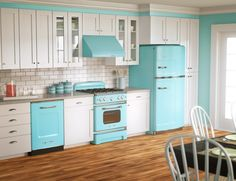 Interior, Cool Vintage Room Ideas With Retro Kitchen Interior Decorating With Blue Range Hood And Refrigerator Plus White Subway Backsplash And Parquet Flooring As Well As Refrigerator: Stunning Vintage Room Ideas for Relaxed Living Space