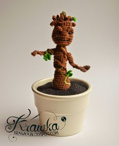 Baby Groot inspired by Guardians of the Galaxy - Free Amigurumi Pattern here: http://krawka.blogspot.de/2014/08/i-am-groot.html