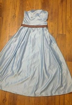 Bridesmaid, Prom, Winter Carnival, Formal Billow Dress, Baby Blue & Brown 10/12