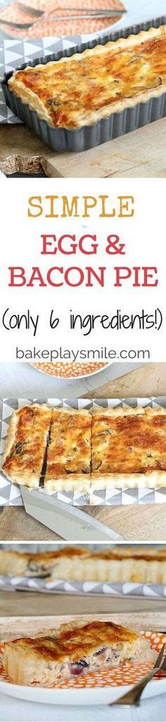Egg and Bacon Pie (only 6 ingredients!) This is by far the easiest and yummiest egg and bacon pie you'll ever make. Pre-made puff pastry gives you a perfectly crispy crust and it means that you can have this on the table in 30 minutes! Quiche Recipes, Egg Recipes, Brunch Recipes, Cooking Recipes, Bacon Recipes, Recipies, Breakfast Desayunos, Breakfast Dishes, Breakfast Recipes