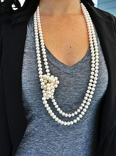 Good for me: long, multiple lengths of pearls. My necklaces should be long to honor my length. The knotting is a fun touch and he'd like wearing it with a tee. He mentioned that adding a silver chain with the pearls makes it a bit more casual.