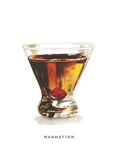 Manhattan MidCentury Cocktail Watercolor Print