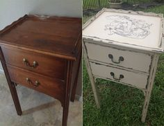 repurposed furniture before and after | Before & After sewing table
