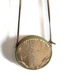 Gold Crossbody Evening Bag Round Evening Bag by VivaTerraVintage
