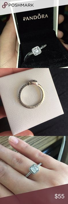Pandora Timeless elegance ring Pandora Timeless Elegance, Clear CZ- sterling silver ring. Good condition. Size 8.5 or 58. Comes with original box. Pandora Jewelry Rings