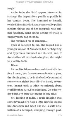 This part is so awesome him and Annabeth are literally dreaming about having kids its so cute!