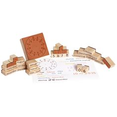 Holzstempel Kalender Uhrzeit, Datum, Wochentage und Monate 220124