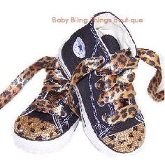 Just bought these for my AMAZING Niece and Goddaugher! She will be pimping them out!    Leopard Bling Converse -- Baby Bling Things Boutique Online Store