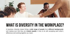 Definition of Diversity   In business, diversity means hiring a wide range of people from different backgrounds and making sure that they are treated equally. It is respecting and accepting each other's differences and working together as a team. It has many benefits for the company, employees + society at large: Employees from different backgrounds can bring different perspectives to the business · Grade 12 Business Studies with Nonjabulo Tshabalala, South African Business Studies teacher… What Is Diversity, Exam Papers, Business Studies, Information Graphics, Human Rights, Problem Solving, Definitions, A Team, Workplace