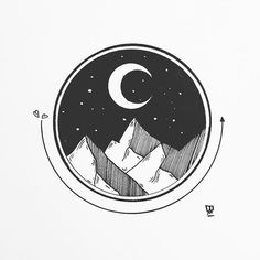 black and white geometric landscape drawing inspiration Drawing Heart, Circle Drawing, Circle Art, Circle Design, Moon Circle, Moon Drawing, Moon Design, Kunst Inspo, Art Inspo