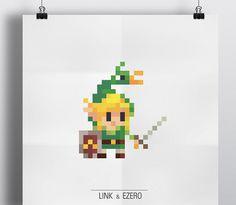 Link Nintendo 8 bits Pixel Design Concepts par Eivven