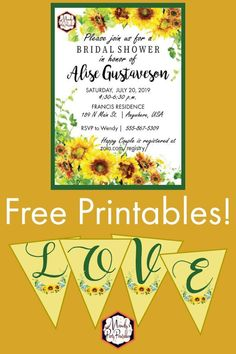 Get these trending Free Editable Sunflower Bridal Shower Printables Free Baby Shower Printables, Printable Baby Shower Invitations, Printable Banner, Party Printables, Free Printables, Bridal Shower Invitation Wording, Sunflower Baby Showers, Bridal Shower Rustic, Sunflowers
