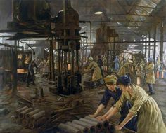 The Munition Girls, 1918 This painting shows women working at Kilnhurst Steelworks, Rotherham, during the First World War. Like many other steelworks during the war, John Baker & Co.'s Kilnhurst site was converted to make shells and ammunition and the company commissioned this painting as a record of the scene. Stanhope Alexander Forbes (1857–1947) Science Museum