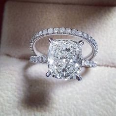 Gorgeous cushion cut engagement ring with pave' diamond band and matching wedding band. All diamonds are lab created diamond. GIA certified diamonds and clarity The Bling Ring, Bling Bling, Dream Engagement Rings, Engagement Ring Cuts, Wedding Engagement, Solitaire Engagement, Solitaire Diamond, Simple Elegant Engagement Rings, Big Diamond Rings