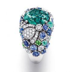 Chaumet; White gold with diamonds, sapphires, tourmalines, tsavorite garnets set with a 12.24-carat blue-green tourmaline
