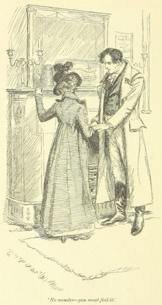 Jane Austen Mansfield Park - No wonder-you must feel it Jane Austen Mansfield Park, Ink Pen Drawings, Drawing Sketches, Regency Era, People Illustration, Classic Literature, British Library, Period Dramas, Les Oeuvres