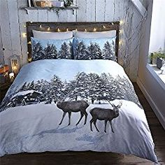 CHRISTMAS NORDIC REINDEER TREES WHITE BLUE BROWN USA QUEEN SIZE (230CM X 220CM - UK KING SIZE) DUVET COMFORTER COVER