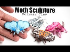 How to Sculpt Moths and Butterflies from Polymer Clay / Sculpture, Modeling Tutorial, Jewelry Design Polymer Clay Sculptures, Polymer Clay Animals, Polymer Clay Charms, Polymer Clay Projects, Sculpture Clay, Polymer Clay Art, Clay Crafts, Polymer Clay Jewelry, Biscuit