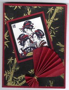 handmade card: Asian Art by Sylvia O ... black base with bamboo embossed in gold ... burgundy mats and accents ... three geisha image ... like it!!