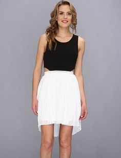 Black Contrast White Cut Out High Low Dress