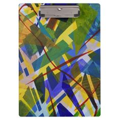 The City I, Abstract Contemporary Green Light Clipboards, acrylic paint in rainbow colors #DianeClancy